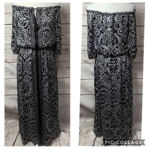 WHBM Black Paisley Boho Maxi Dress Size 6